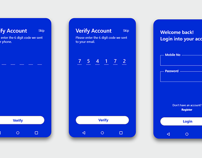 login and register screen for mobile