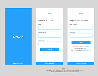 MyAuth Mobile App (Authentication Screens)