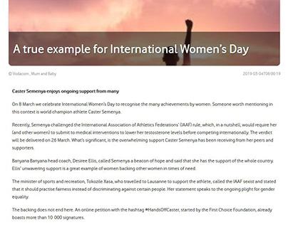 Content Writing - Vodacom Mum & Baby: Women's Day