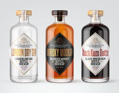 8 Spirits Bottles PSD Mockups