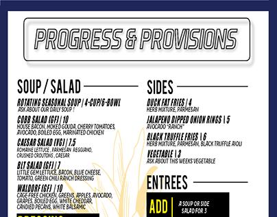 """Progress & Provisions"" Menu"