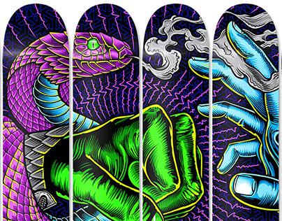 Cosmic Battle: 12 Skate Deck Installation