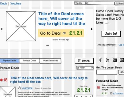 Deals Website Wrieframes