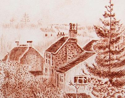 Frenchay Village - Drypoint Study