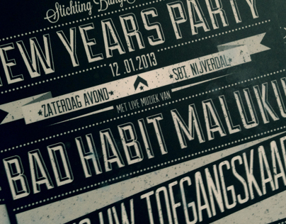 Posters and tickets for New years party.