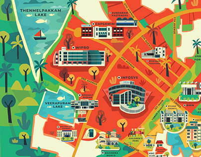Mahindra World City Map Illustration