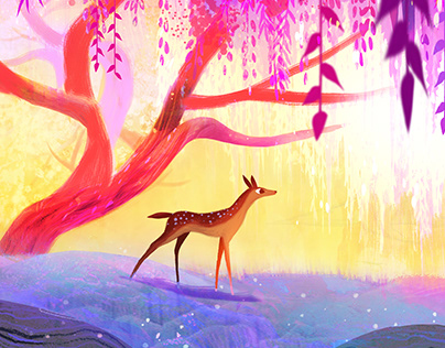 Deer and Doe Illustration