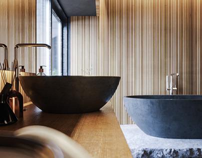 Wood and black bathroom