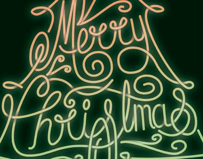 Merry Christmas Tree Neon