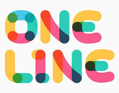 One line Overlap Bold font