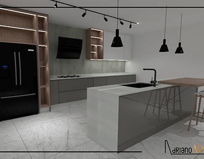 Diseño de cocina con características modernas
