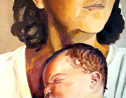 Mamá - retrato a óleo
