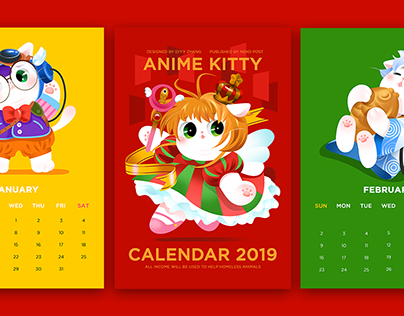 2019 anime kitty calendar design