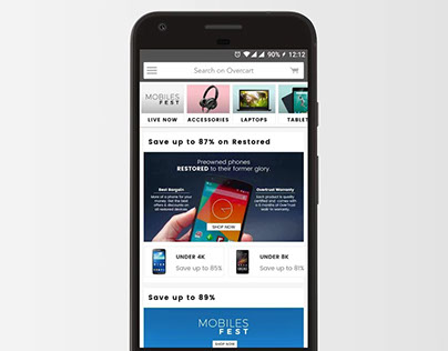 Landing Pages for Overcart android application
