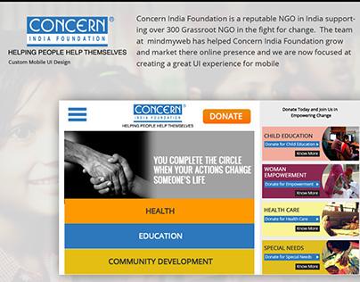Mobile UI design 2017 for concern India Foundation