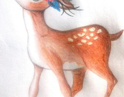 Colored pencil drawing of deer