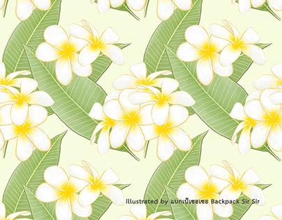 Frangipani (plumeria) flower and leaf seamless pattern