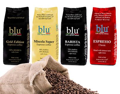 Package Design 1 kg coffee beans BLU CAFÉ Int