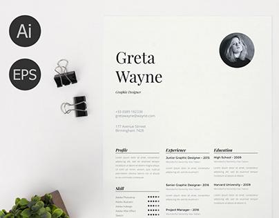 Free Clean Resume Templates for Graphic Designer