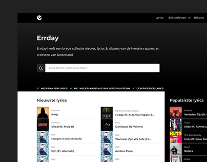 Errday homepage | Redesign