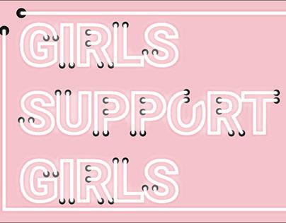 Girls support girls placard neon