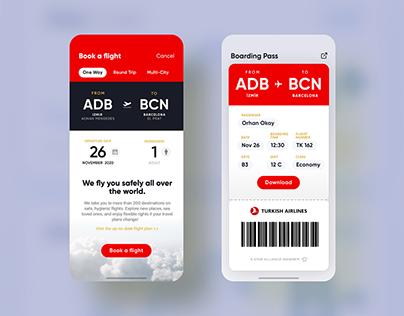 Turkish Airlines app user interface