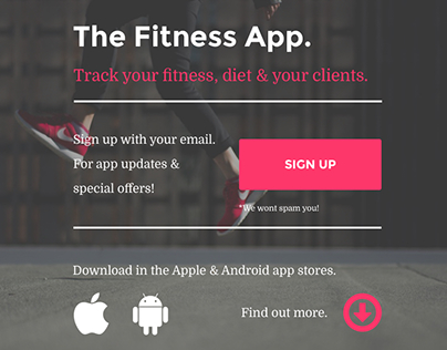 The Fitness App - Landing Page Design