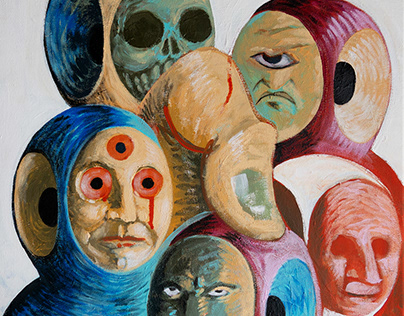 """PUPPET THEATER"" Acrylic on canvas 40X40 cm - 2020"