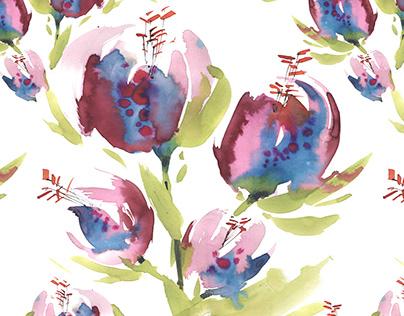 Watercolor patterns / Flowers