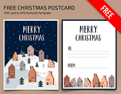Free Christmas Postcard Template in PSD + Vector