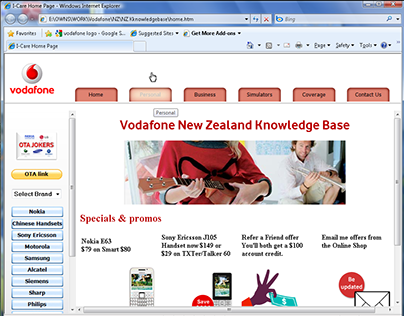 Vodafone NZ website simulator
