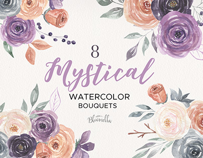 Mystical Floral Bouquets Watercolor Hand Painted