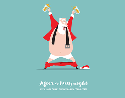 Christmas Cards: Santa Chills after a busy night...