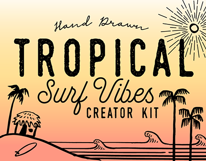 TROPICAL SURF VIBES- ICON SET