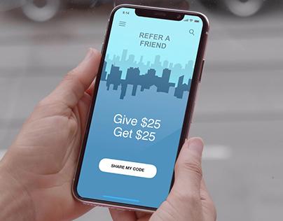 Refer a Friend Mobile User Interface Widget