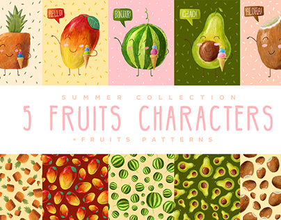 Cute Fruits Characters