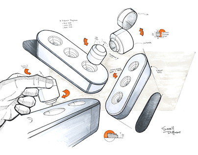 Industrial Design Sketches - Plate Smell Diffuser