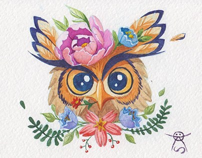 Owls in flowers