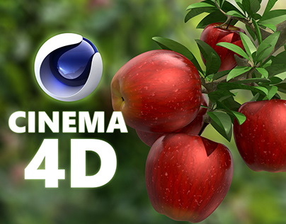 Apple and a branch Modeling by Cinema 4d