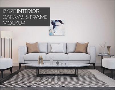 12 Size Interior Canvas Frame MockUp