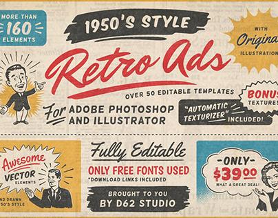 1950s Retro Style Ad Templates