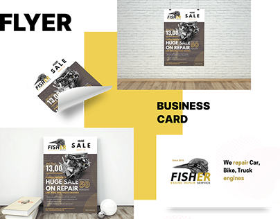 Flyer and business card for FISHER