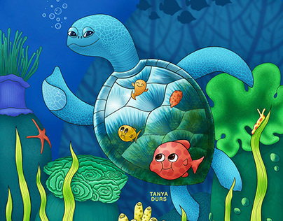 Turtle and cleaner-fishes