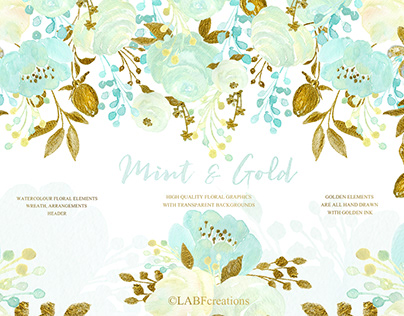 Mint & hand drawn gold clipart