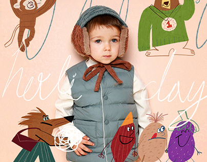 2020 winter kids fashion illustration