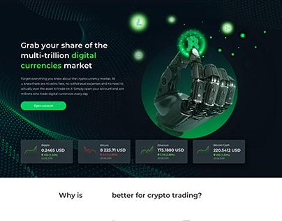 Cryptocurrency Digital Market Landing Page