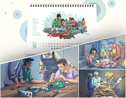 Illustration for S E S I P desk calender