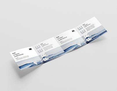 Free 4-folded square leaflet mockup