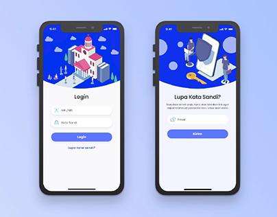 login screen e-learning mobile apps