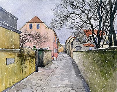 Watercolour Weimar Germany